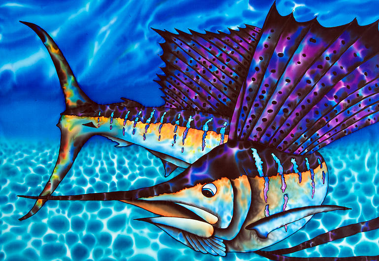 Atlantic Sailfish silk painting