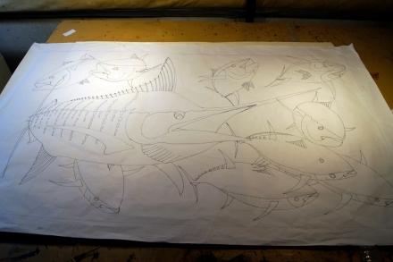 Blue Marlin Silk Painting