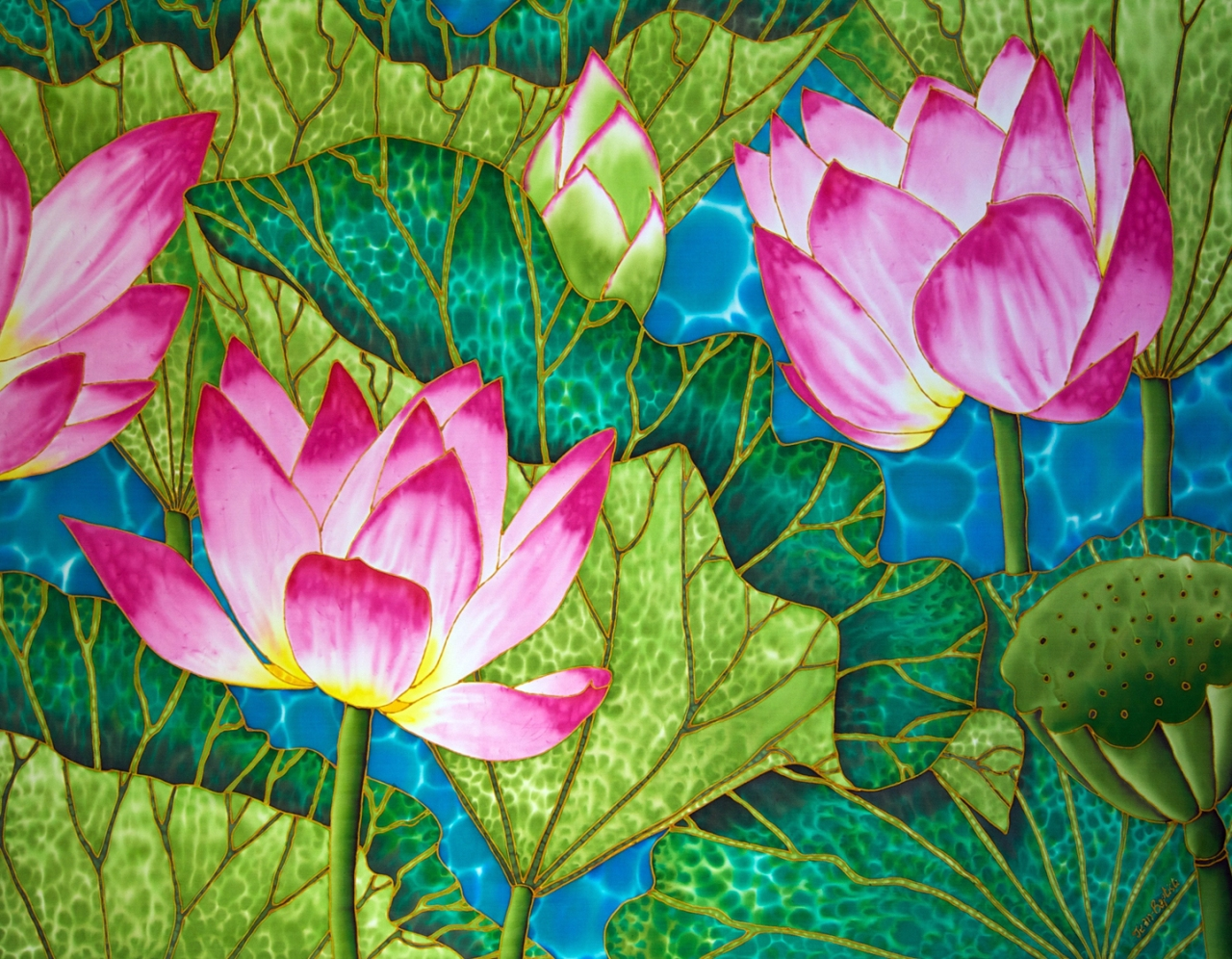 Jean baptiste latest art lotus pond tropical silk jean baptiste latest art lotus pond izmirmasajfo