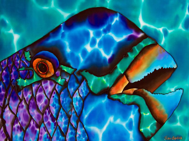 WORLD'S BEST SILK PAINTING ARTIST : JEAN-BAPTISTE : REEF FISH