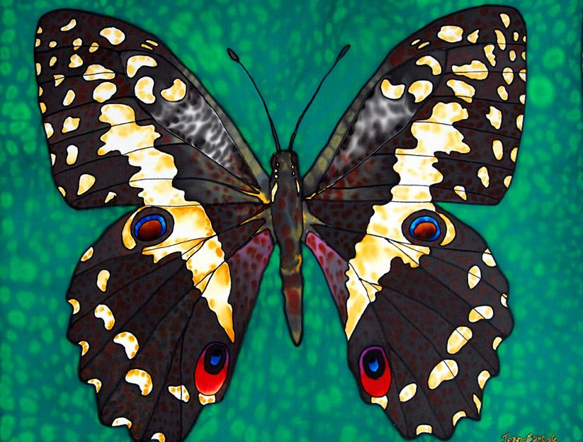 BUTTERFLY SILK PAINTING.