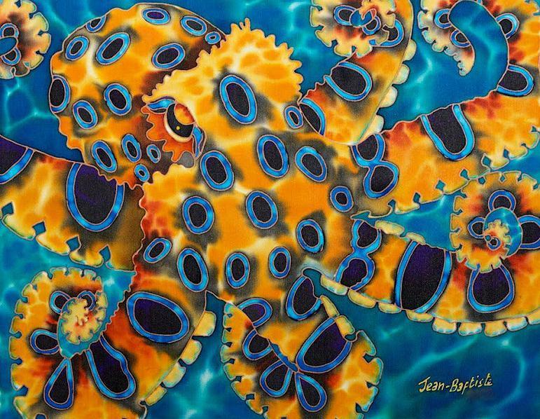 WORLD'S BEST SILK PAINTING ARTIST : JEAN-BAPTISTE : REEF FISH