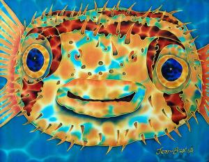 PUFFER FISH SILK PAINTING
