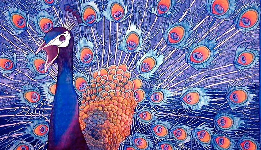 WORLD'S BEST SILK PAINTING ARTIST : JEAN-BAPTISTE : EXOTIC BIRDS