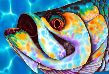 SILK PAINTING OF A TARPON FISH