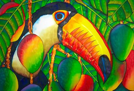TOUCAN SILK PAINTING