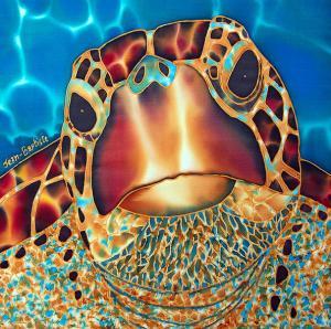 SEA TURTLE SILK PAINTING