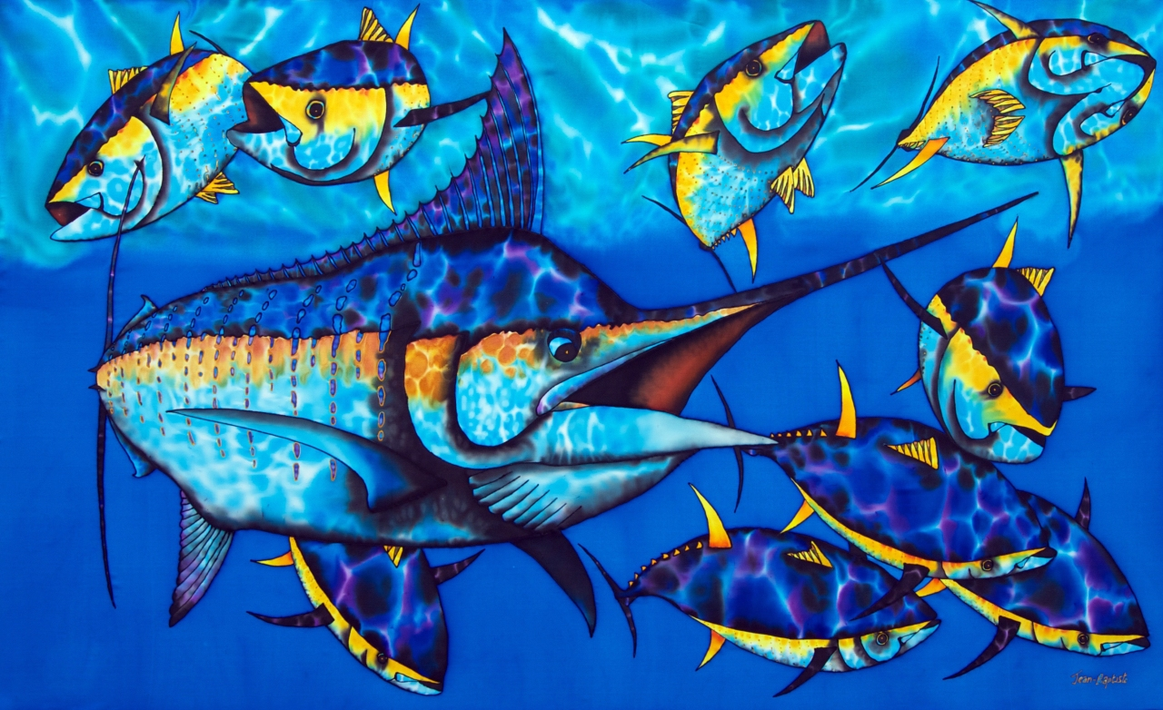 BLUE MARLIN SILK PAINTING