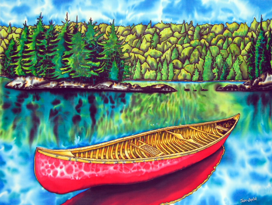 Ontario painted on SILK red canoe
