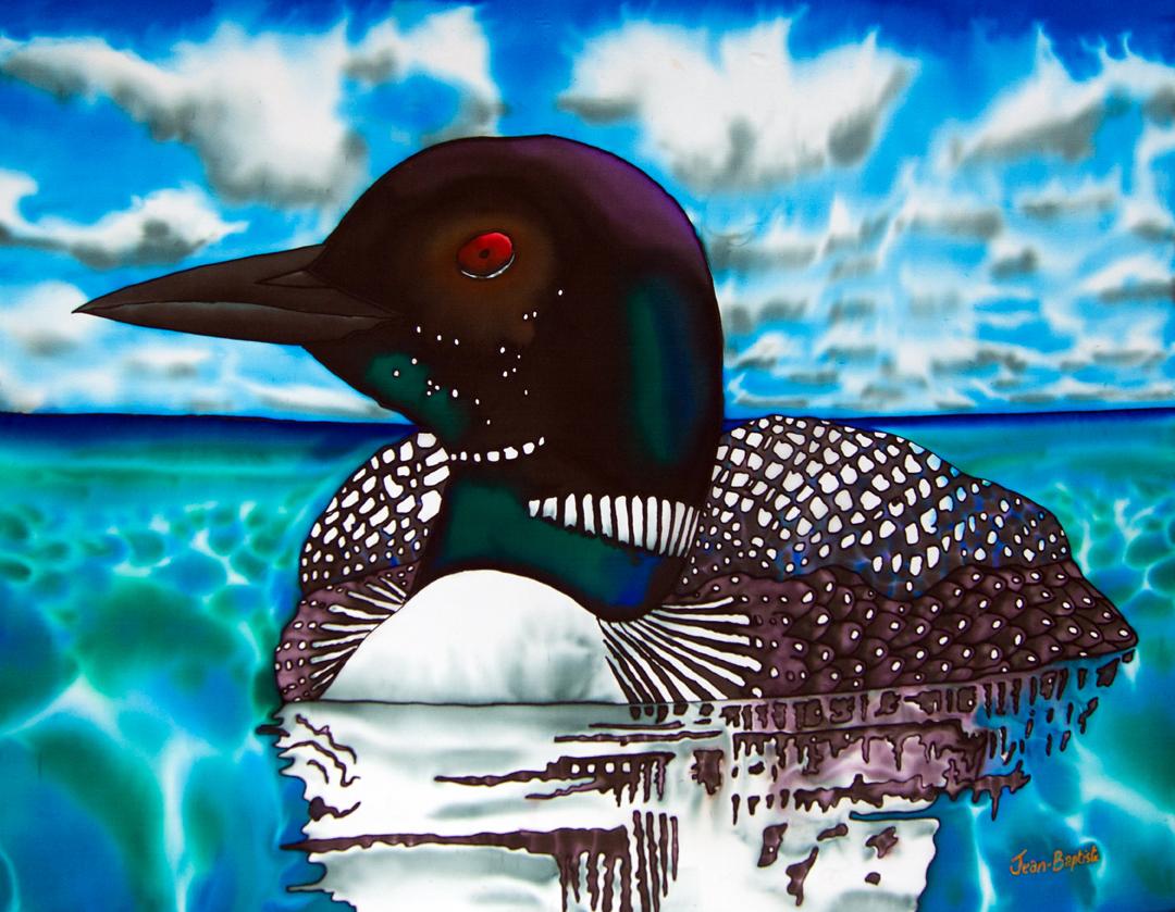 Ontario painted on SILK Muskoka Loon