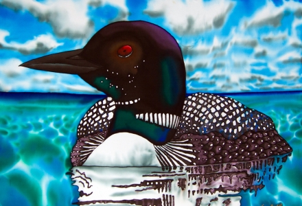 Ontario painted on SILK Muskoka Loon