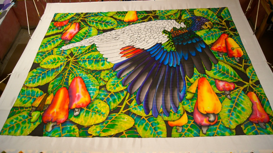 Batik Silk Painting of the St. Lucia Amazona Versicolor | JEAN-BAPTISTE