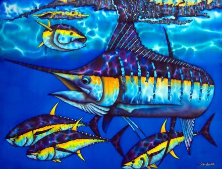 Blue Marlin Art | Silk Batik of JEAN-BAPTISTE