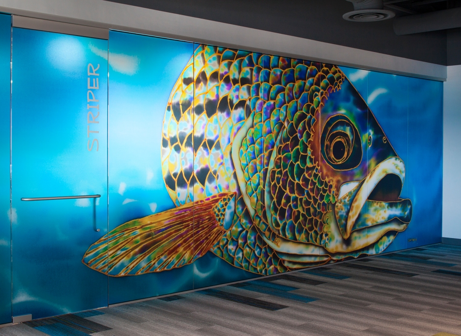 Jean-Baptiste Batik Silk Art reproduced into a glass wall art installation.
