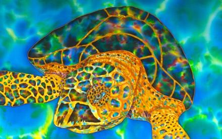 Silk Painting in the colors of opal gemstones   JEAN-BAPTISTE